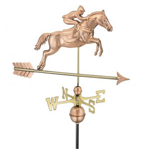 jumping horse and rider on arrow Weathervane
