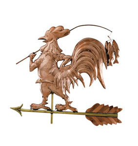 Rooster and Fishing Rod with Fish Weathervane