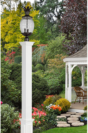 the vinyl are a more economical version of our lamp and mailbox posts these posts are made with a vinyl post sleeve and capped with decorative